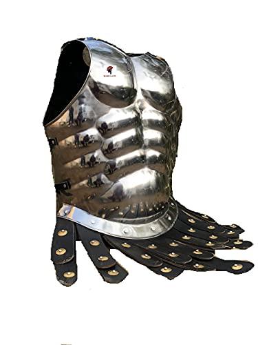 Casco espartano medieval del Rey Romano Leonidas 300 con ciruela roja + armadura muscular + escudo + protector de piernas o brazos, disfraz de Halloween SCA LARP