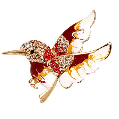 Mujeres Hombres Vintage Metal Colibrí Broches Joyería De Moda Animal Broche Pins-Red Bird