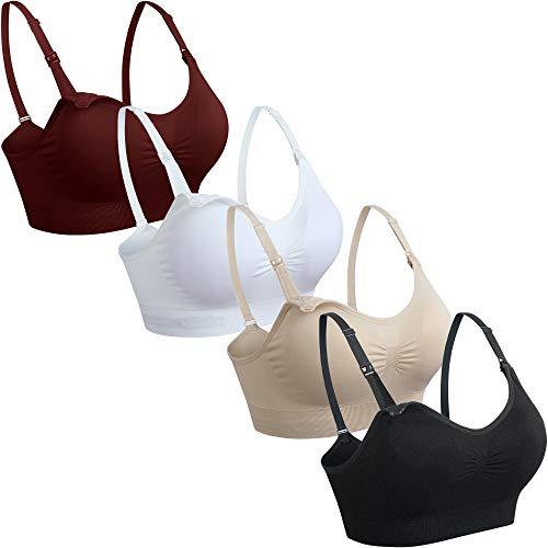 GXXGE 4Pack Nursing Bra for Breastfeeding Maternity Bras Push Up Silk Seamless Pregnancy Bralette Underwear Black Beige Rosered White Medium