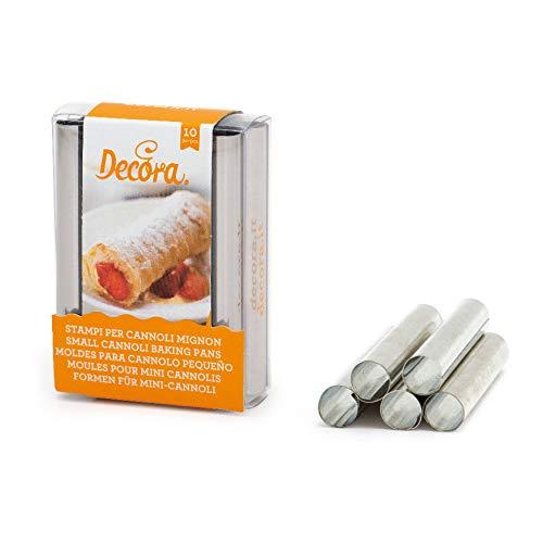 Decora Confezione Stampi cannoli mignon, ø 1,3 x 8 h cm, in acciaio inox, Confezione da 10 pezzi