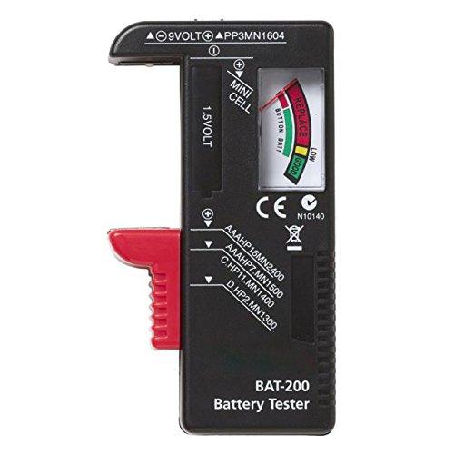 About1988 Batterietester, Digitaler Batterietester Batterie Testgerät und Akku Testgerät für AAA, AA, C, D,1,5 V,9 V und Knopfzellen (Schwarz)
