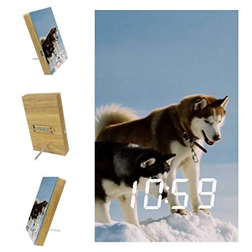 Vockgeng Digitaler Wecker Kinder Wecker Weiße Schneetiere Wölfe Tischuhr mit Akustik Steuerung Datum und Temperatur,...