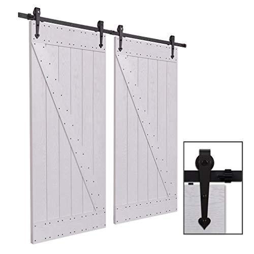 Herraje Puerta Corredera 305cm/10ft Negro, CCJH Riel Puerta Corredera Armario, Adecuado para 2 Puertas de 77 cm de ancho [Heart Shape Hanger]