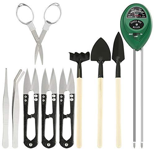 Boden Messgerät Boden Feuchtigkeit Meter Bonsai Werkzeug 3-in-1-Feuchtigkeitssensor/Sonnenlicht/pH-Wert Bodentest mit 9-teiligem Bonsai Werkzeug für Pflanzenerde, Garten, kein Batterien Erforderlich