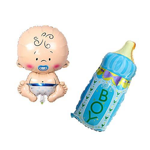 Huture 2 Stück Baby Formballon Baby Junge Folienballon Fläschchen It's a Boy Blau Gender Reveal Ballon Baby Luftballons Taufe Dusche Deko Mylar Ballons Willkommen Babyshower Geburt Party Dekoration