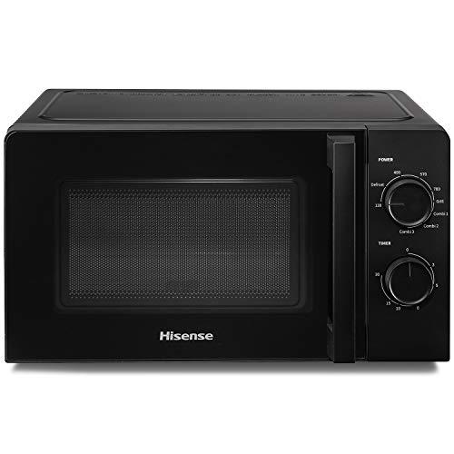 Hisense H20MOBS1HG Horno Microondas Mecánico, Capacidad 20 L, Potencia 700 W, Parrilla Potencia 900 W, Negro