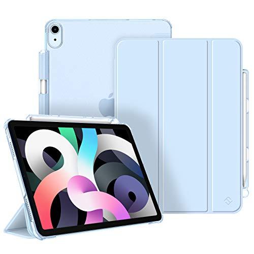 Fintie Hülle für iPad Air 4. Generation 2020 10.9' mit Stifthalter (Unterstützt 2.Gen Pencil, kabelloser Ladefunktion) - Ultradünn Schutzhülle mit transparenter Rückseite, Auto Sleep/Wake, Himmelblau