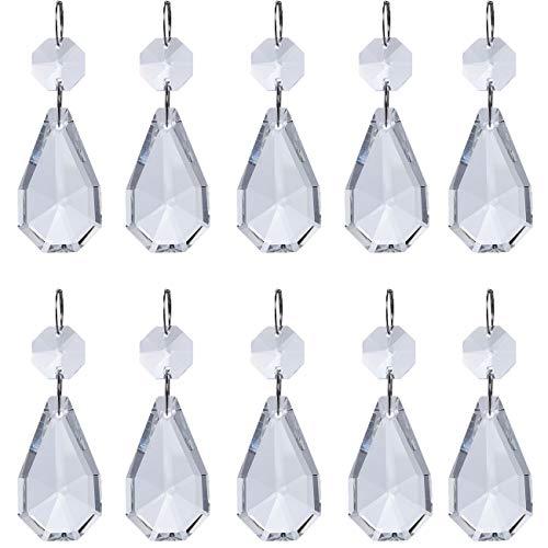 H&D kristallen prisma's voor kroonluchter, 38 mm, met achthoekige parels en zilveren cirkel, ideaal als decoratie voor Kerstmis of bruiloften 5 pz Pyriform