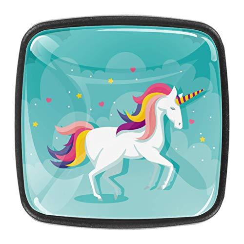 4 pomos de cristal para puerta de armario y cajón, diseño de unicornio blanco mágico, fondo azul