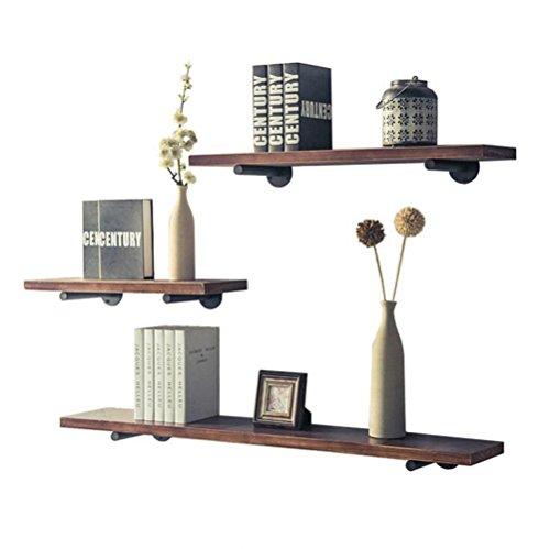 HAIZHEN Étagères de rangement Étagère en bois 3pcs 60cm80cm120cm de mur d'étagère en bois d'étagère de rayonnage de tuyau Forte stabilité