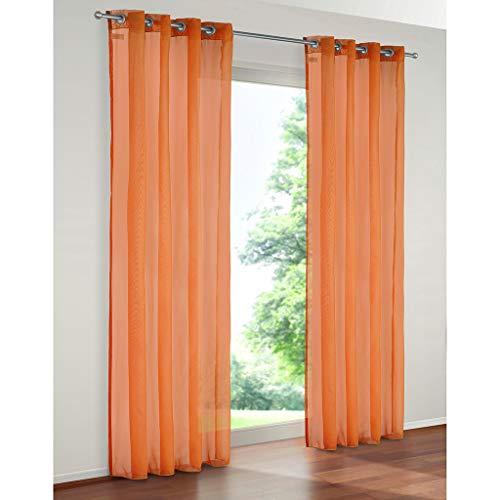 SIMPVALE 2 Paneles Cortinas con Ojales Translúcida Visillos para Dormitorios Habitación Salón Balcón,Naranja,140cm x 245cm