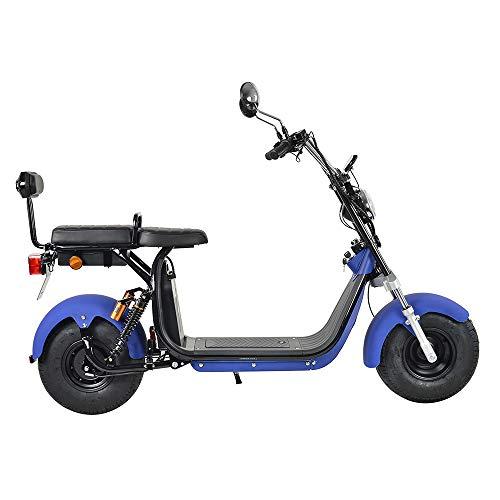 4MOVE Harley Elektroroller Scooter mit Straßenzulassung, 1200Watt, 45km Reichweite, bis zu 45 km/h, 2-Sitzer E-Scooter, Elektro-Roller, herausnehmbarer 60V/20Ah Lithium-Akku (Bule)