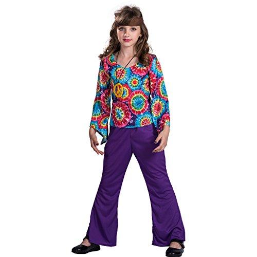 EraSpooky Disfraz Vestido de Hippie Ama la Paz Para Niña