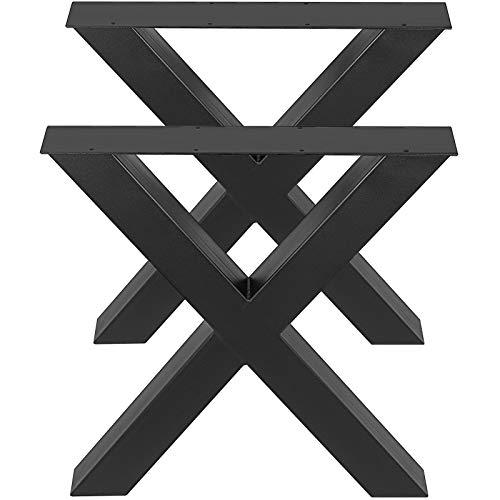 VEVOR Patas de Mesa, 400 X 395 mm Mesa de Comedor de Metal con Marco en X Escritorio Negro, Conjunto de 2 Patas de Mesa de Acero de Calidad, Patas para Muebles Tienda de Café Bar de Oficina en Casa