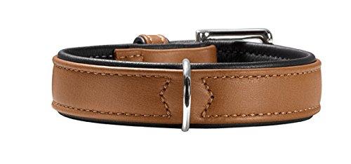 HUNTER CANADIAN Hundehalsband, Leder, hochwertig, weich, 50 (S-M), cognac/schwarz
