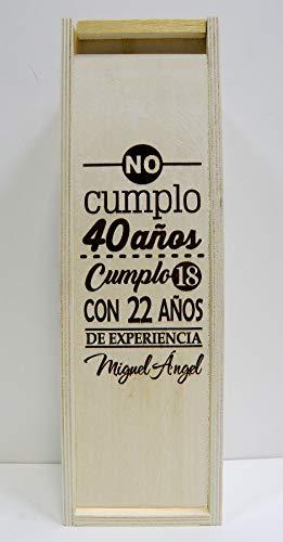 Caja de Madera para 1 Botella de Vino. Grabada y Personalizada con NO CUMPLO AÑOS. Regalo para cumpleaños Hombre o Mujer, práctico y Elegante para 1 Botella de Vino de su elección