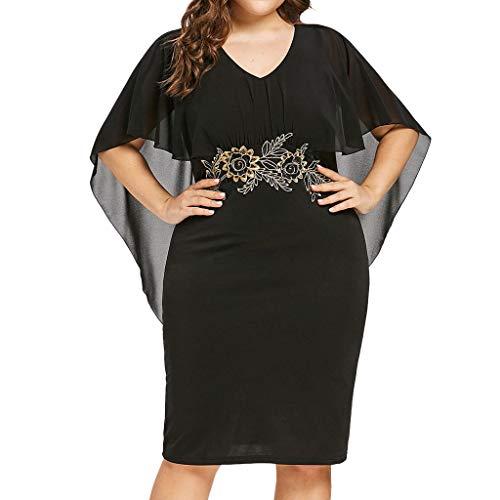 Dorical Damen Sommer Plus Size Elegant Kleid Freizeit V-Ausschnitt Applique Lose Solid Kleid Knielanges Hohe Taille Kleid Party Brautkleid Große Größen Negligee Abendkleid(Schwarz,XXXX-Large)