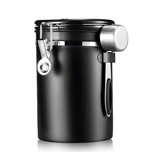 Sealon - Caja de café hermética de acero inoxidable para guardar granos, caja de té, azúcar, galletas y harina, 1800 ml
