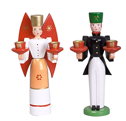 Weihnachtsfiguren Engel und Bergmann, rote Flügel – Holzengel - Weihnachtsengel – Holz – Höhe 15 cm - Erzgebirge – NEU