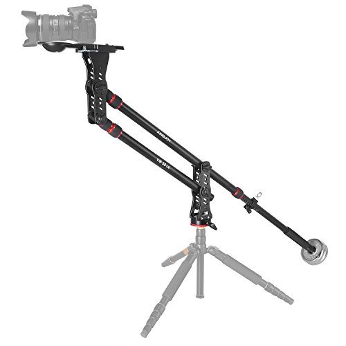 Aluminum Camera Mini Jib Crane with Counterweight VM-301A 82.7'/2360 Degree Pan Ball Head,Bowl for 75~100mm Tripod Head and Quick Release Plate Adapter, Max.Load to 8 kg/17.6 pounds
