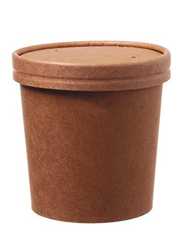 DeinPack 50 Suppenbecher to go mit Deckel braun 360ml 12oz I Kompostierbare Becher mit PLA Innenbeschichtung Suppen-Becher to Go Pappe I 50 Bio Einweg-Becher mit Deckel biologisch abbaubar