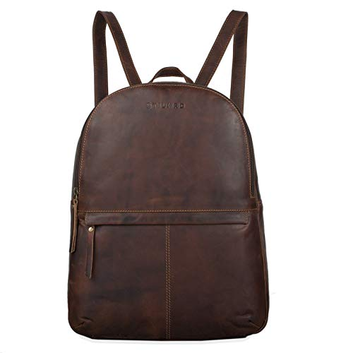 STILORD 'Conner' Zainetto pelle uomo donna Zaino vintage porta pc portatile 13,3' in cuoio grande Borsa per l'università, Colore:mocca - marrone scuro