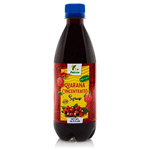K DELICIA Guarana Super Concentrated Syrup - Brazilian Xarope da Guarana -16.9 Fl Oz Bottle | 3% Guarana Extract Caffeine for Energy Drink