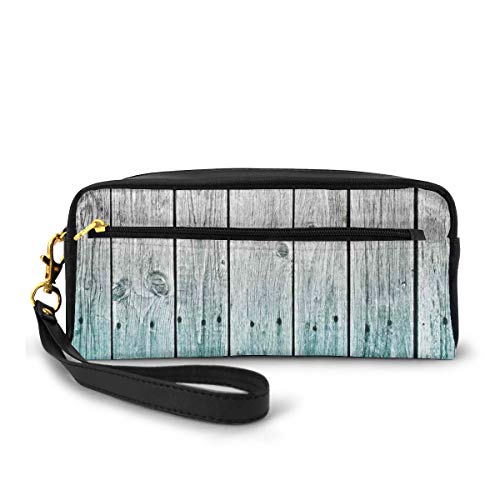 Pencil Case Pen Bag Pouch Stationary,Wood Panels Background with Digital Tones Effect Country House Art Image,Small Makeup Bag Coin Purse
