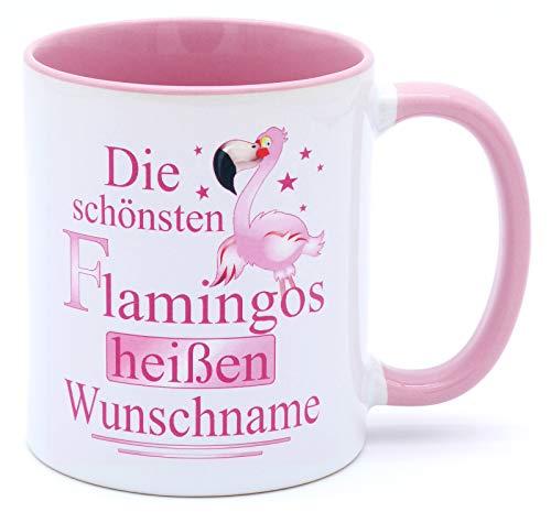 Die schönsten Flamingos heißen Wunschname Tasse mit Namen Becher personalisiert Büro Keramik Rosa Weiß Pink Kaffeebecher Accessoires Deko Geschirr Mädchen Geschenk Artikel Geburtstagsgeschenk