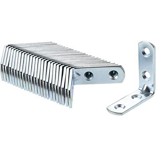 SECOTEC Verbindungswinkel Metall mit 4 Schraublöcher 40x40 x 14 mm; Stahl verzinkt; Inhalt: 25 Stück Winkelverbinder