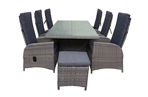 Green Spirit - Garten-Sitzgruppe/Rattan-Garnitur 'Marbella' ohne Hocker - Dunkelgrau, Poly-Rattan, Sicherheitsglas, Wetterfest, 6 verstellbare Garten-Sessel - Garten-Möbel Set/Terrassen-Möbel