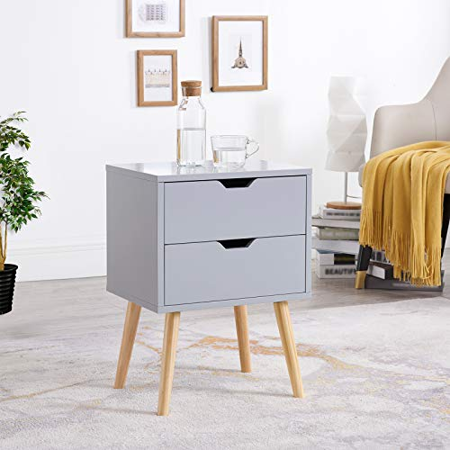 Sweetgo End Side Table Nightstand with Storage Drawer -Fashion Modern Assemble Storage Cabinet Bedroom Bedside -Solid Wood Legs Living Room Bedroom Furniture-Double Drawer Nightstand-1 PC