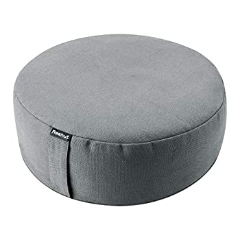 REEHUT Zafu Yoga Meditation Cushion Round Meditation Pillow Filled with Buckwheat Zippered Organic Cotton Cover Machine Washable - 4 Colors and 3 Sizes  Grey 16 x16 x4.5