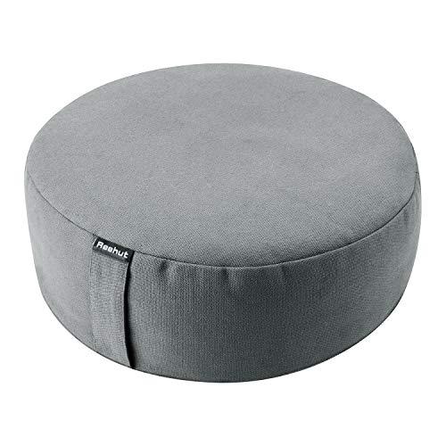 REEHUT Zafu Yoga Meditation Cushion, Round Meditation Pillow Filled with Buckwheat, Zippered Organic Cotton Cover, Machine Washable - 4 Colors and 3 Sizes (Grey, 16x16x4.5)