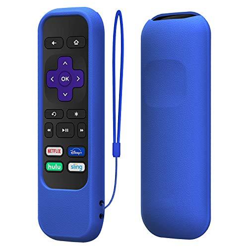 TNP Funda, Carcasa para el Mando a Distancia Roku Roku Express/Premiere Roku 1/2/3 (HD XD XS N1 LT) RC68 / RC69 / RC108 / RC112 con Protección de Silicona a Prueba de Golpe, Lazo Antipérdida (Azul)