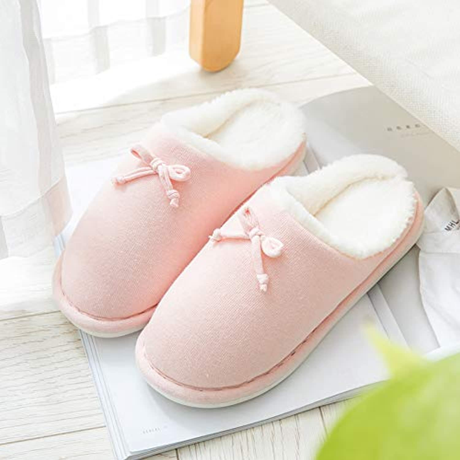 IANXI Home Autumn and Winter Warm Floor Drag Bow tie Couple Cotton Slippers Dormitory Bedroom Moon Cotton Slippers (color   Pink, Size   3)