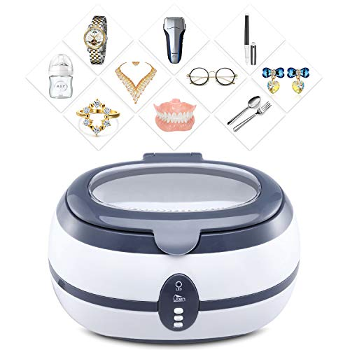 ZOGIN 600mL Ultrasonic Cleaner Ultra Sonic Bath with Cleaning Basket and Watch Stand - Stainless Steel Tank & Digital Timer - for Jewellery Jewelry Glasses Watch Metal Coins Dentures