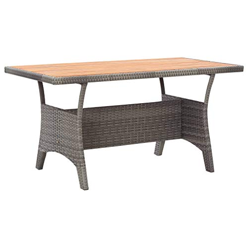 vidaXL Solid Acacia Wood Garden Table Outdoor Furniture Heavy Duty Wooden Dining Dinner Table Patio Side Tea Coffee Desk Grey 130cm