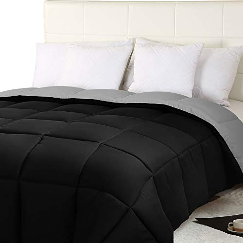 Utopia Bedding All Season Reversible Duvet - | Reversible Two Sided- Black/Grey | - Down Alternative Duvet (160 gsm) - Soft and lightweight Microfiber Box Stitched duvet (230 x 260 cm, Black/Grey)