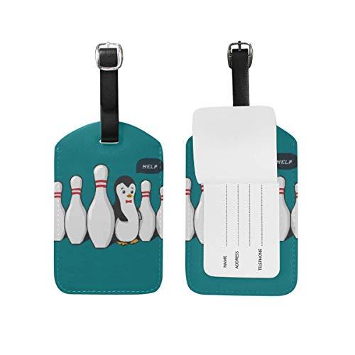 Bowling lustige Pinguin Gepäckanhänger 2 Stück Set Reisegepäck ID Label
