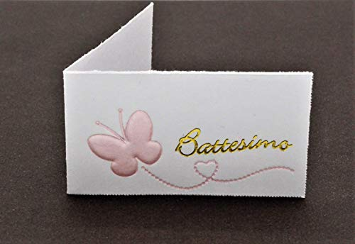 SUPER PROMOZIONE 50 Bigliettini'PERSONALIZZATI CON STAMPA NOME E DATA' x Bomboniera nascita, Battesimo ROSA BIMBA (b669)