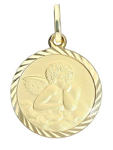 Schutzengel Anhänger (Ohne Kette) Gelbgold 750 Gold (18 Karat) Ø 14mm Engel Engelchen Goldanhänger Kinderanhänger Engelsgold V0013469