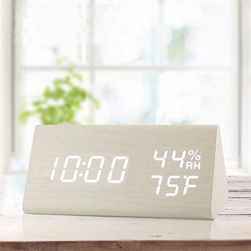 Myfei Digitale wekker met elektronisch led-display, 3 instellingen van alarm, vochtigheid en temperatuur detectie, van hout, elektrische horloges voor slaapkamer