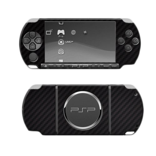 Skinomi Black Carbon Fiber Full Body Skin Compatible with Sony PSP 3000 (Full Coverage) TechSkin with Anti-Bubble Clear Film Screen Protector