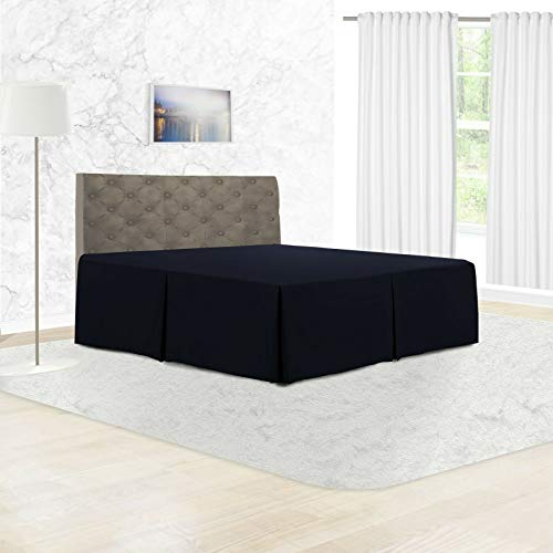 Adams Home Pleated Base Valance Sheet (King, Navy Blue) - Durable Polycotton Bed Skirt - Luxuary 5 Box Pleated Bedskirt with 15 inch Drop, Washable Dust Ruffle Hotel Quality & Abrasion Resistant.
