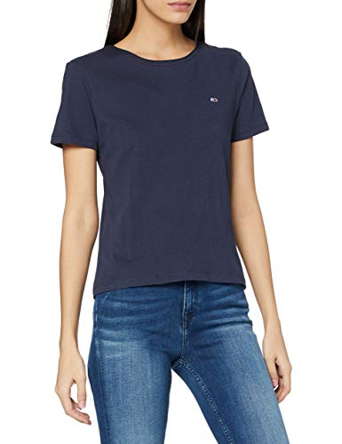 Tommy Jeans Tjw Slim Jersey C Neck Camiseta, Azul Marino (Twilight Navy), XS para Mujer