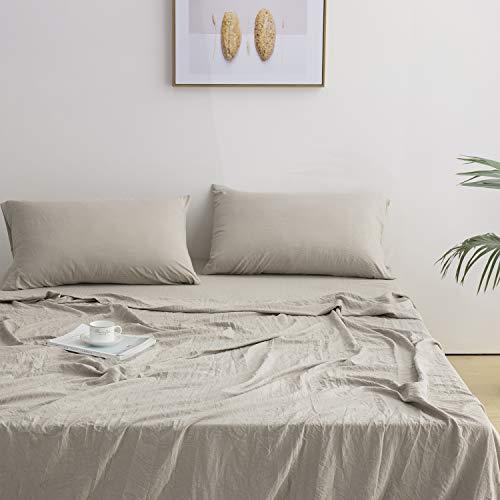 Lanest Housing Queen Sheets Bed Set, 2400 TC Soft Deep Pocket Microfiber Sheet Set, Hypoallergenic, Wrinkle & Fade & Dog Hair Resistant Bedding Set - 4 Piece, Taupe