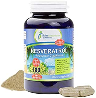 Resveratrol 1500mg Per-Serving All Natural Antioxidant Supplement Promotes Good Cardiovascular Health & Well Being. 180-Ca...