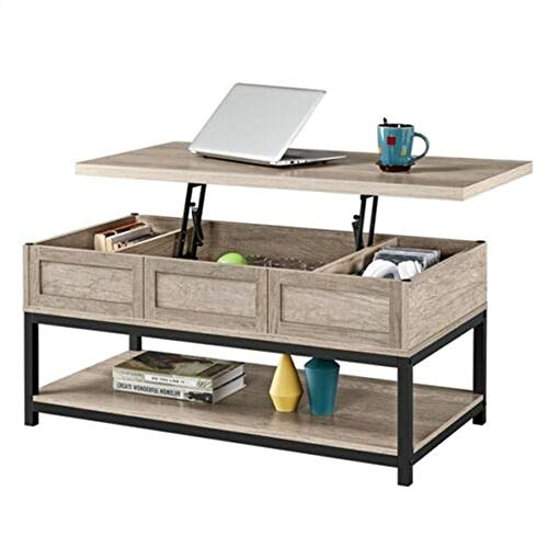 Modern Table Rustic Wood Lift Top Coffee with Hidden Three Sight Storage Compartments Bottom Open Shelf Gray Living Room, Bedroom, Reception, Beyond