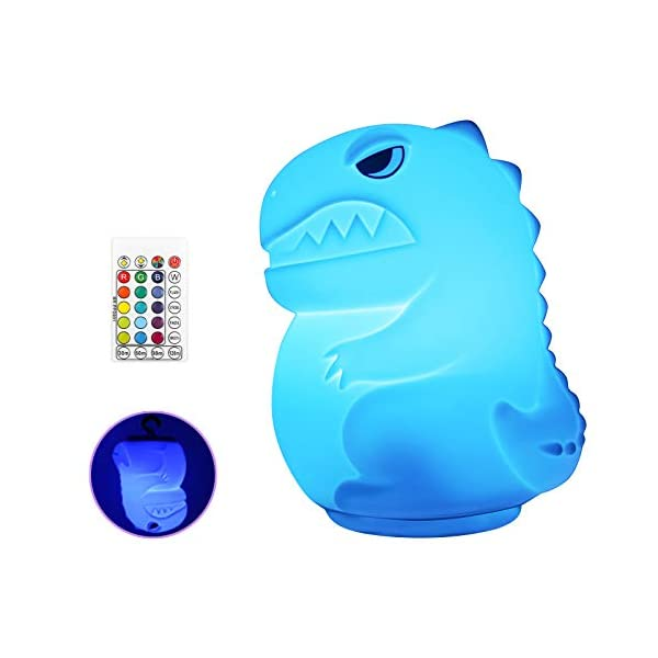 Dinosaur Night Light for Kids, COSOOS Rechargeable Portable Silicone Baby Night Light with Touch Sensor, Color Changing Bedside Nursery Lamp for Infant Toddler, Xmas Gift for Boys Girls Baby Toys